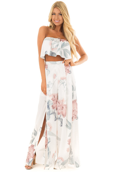 Off White Floral Two Piece Outfit front full body