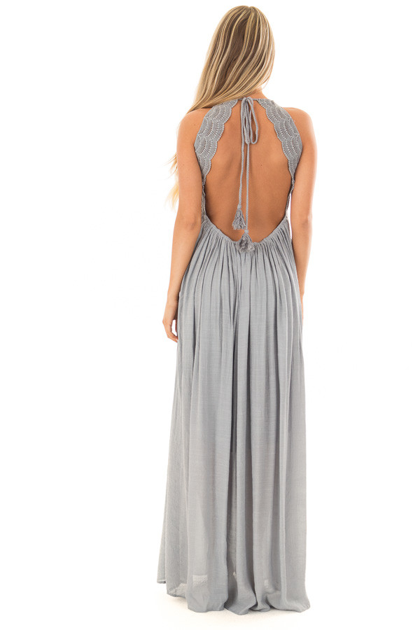 Dusty Blue Sleeveless Open Back Maxi Dress with Lace Accents back full body