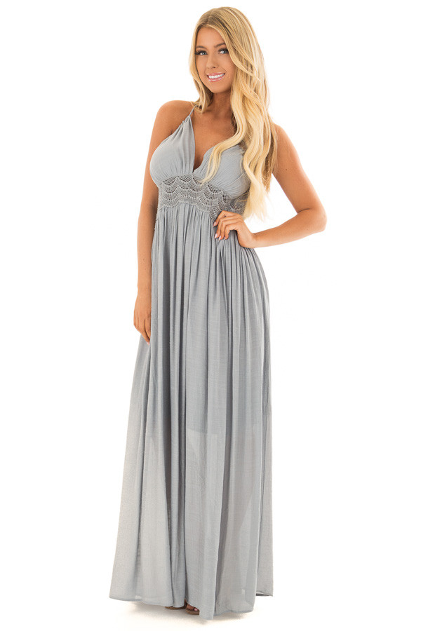 Dusty Blue Sleeveless Open Back Maxi Dress with Lace Accents front full body