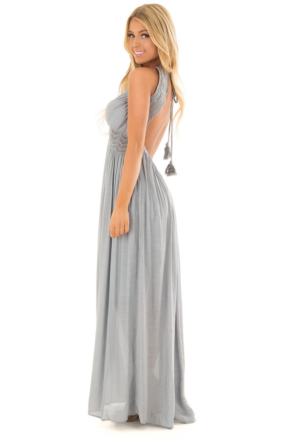 Dusty Blue Sleeveless Open Back Maxi Dress with Lace Accents side full body