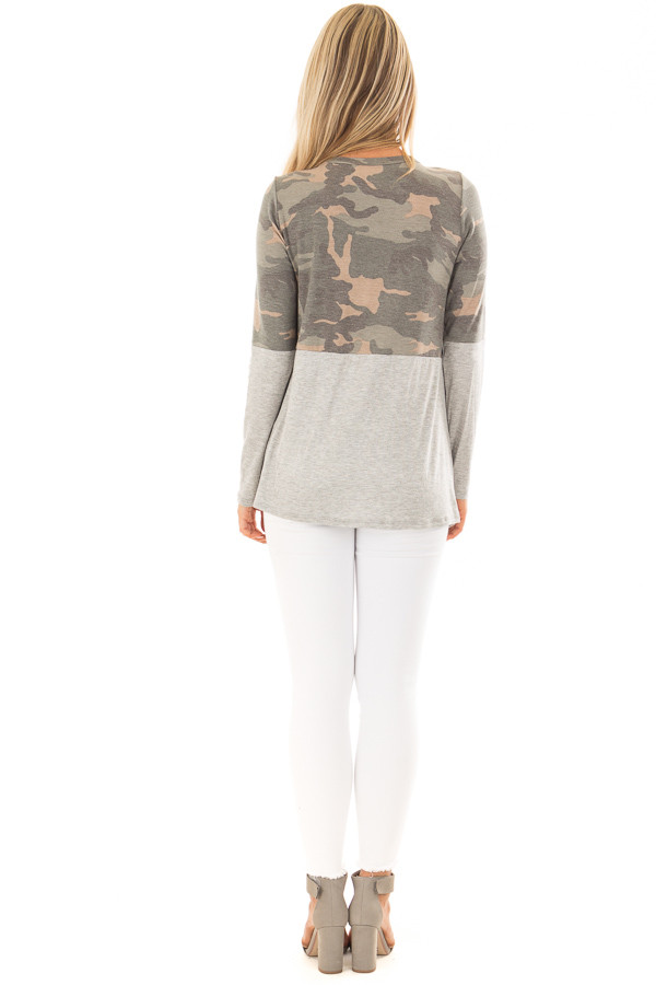 Camo Top with Heather Grey Color Block and Front Twist back full body