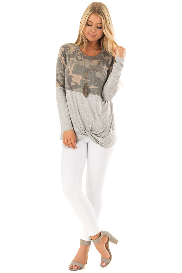 Camo Top with Heather Grey Color Block and Front Twist front full body