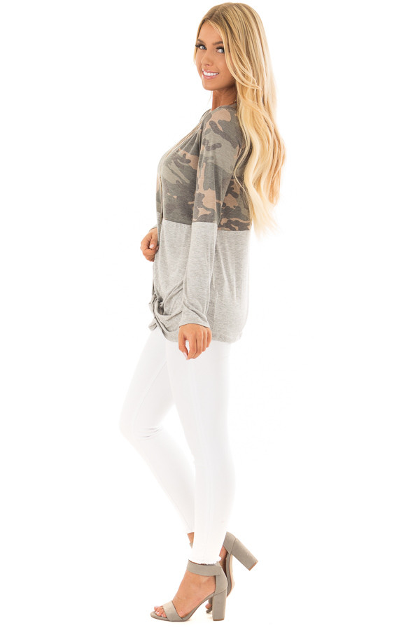Camo Top with Heather Grey Color Block and Front Twist side full body