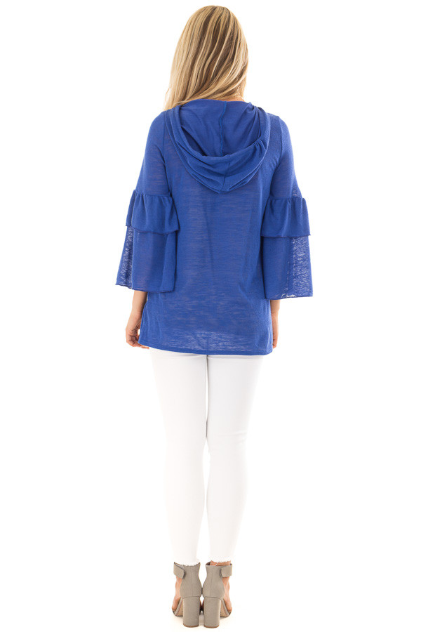 Royal Blue Light Weight Hooded Top with Tiered Bell Sleeves back full body
