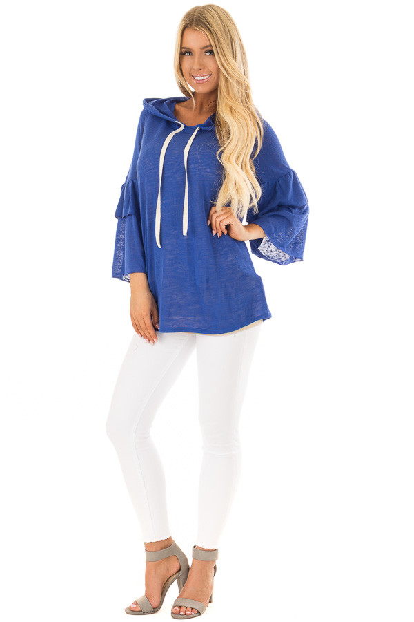 Royal Blue Light Weight Hooded Top with Tiered Bell Sleeves front full body