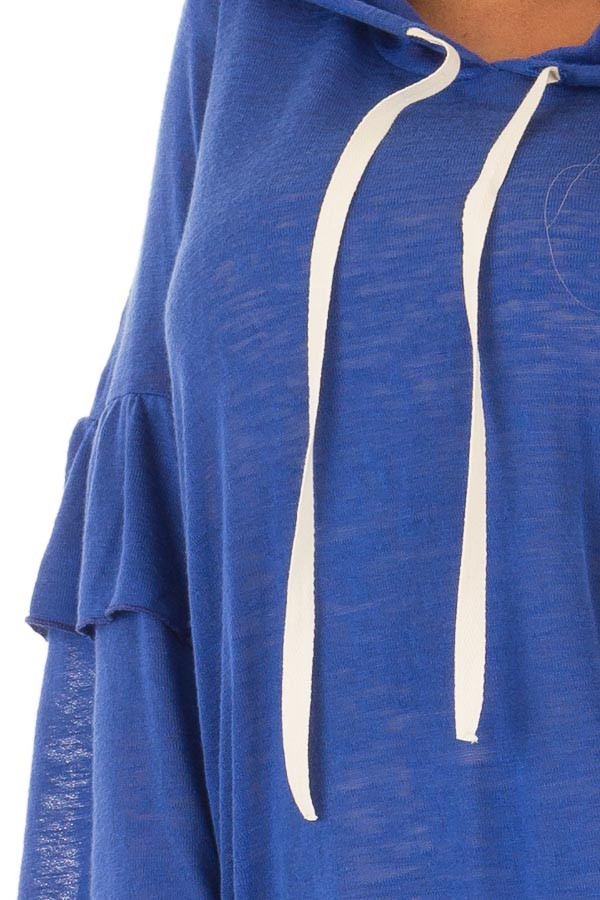 Royal Blue Light Weight Hooded Top with Tiered Bell Sleeves detail