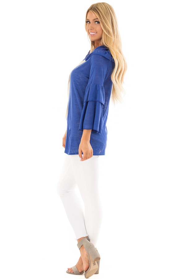Royal Blue Light Weight Hooded Top with Tiered Bell Sleeves side full body
