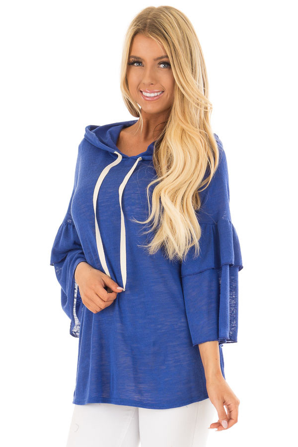Royal Blue Light Weight Hooded Top with Tiered Bell Sleeves front close up