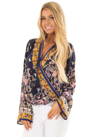 Navy Floral Print Surplice Top front close up