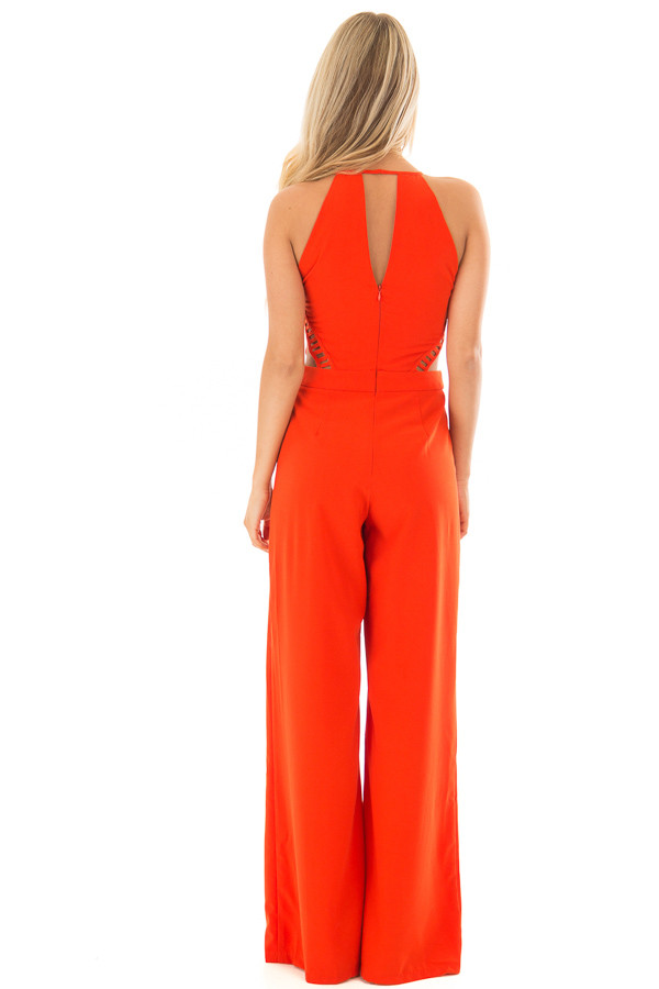 Candy Red Sleeveless Jumpsuit with Side Cutouts back full body