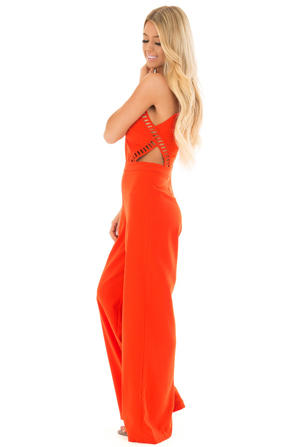 Candy Red Sleeveless Jumpsuit with Side Cutouts side full body