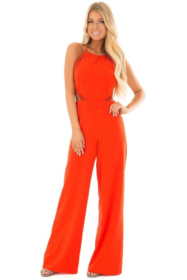 Candy Red Sleeveless Jumpsuit with Side Cutouts front full body