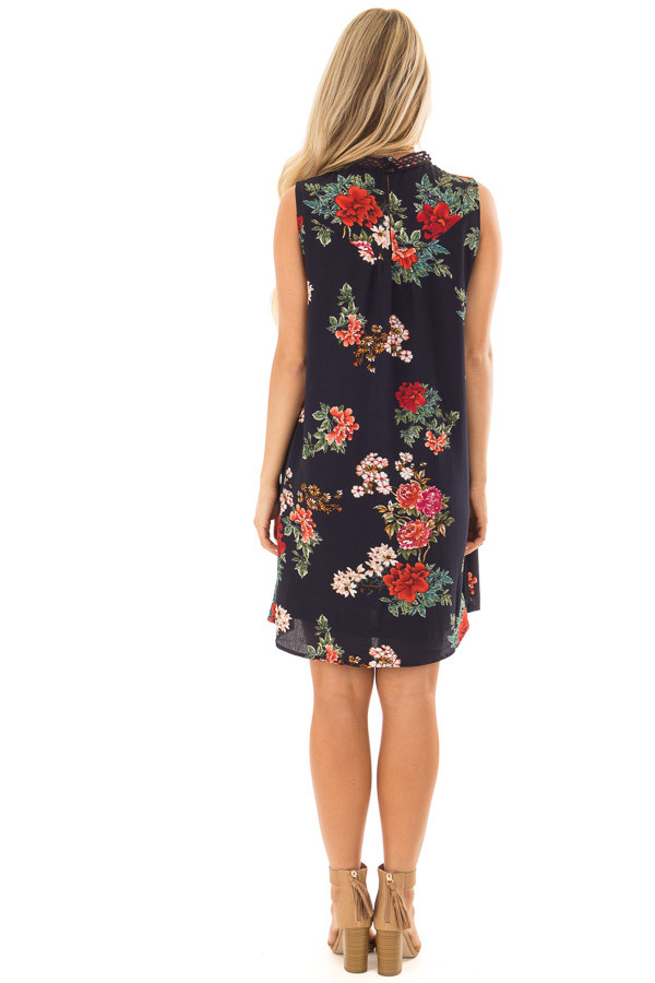 Navy Floral Print Dress with Sheer Lace Neckline back full body