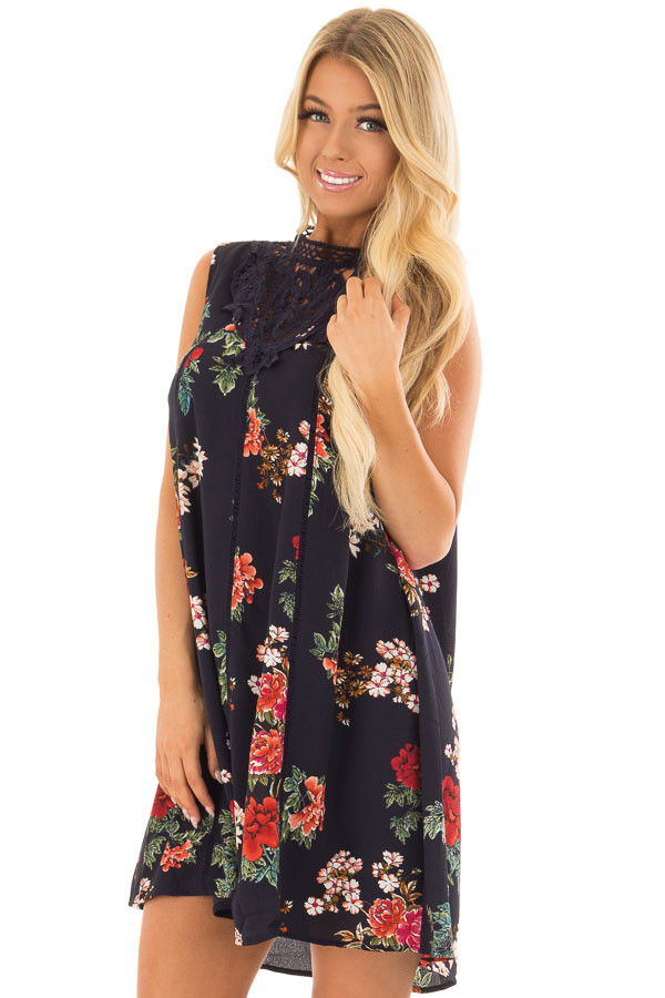 Navy Floral Print Dress with Sheer Lace Neckline front close up