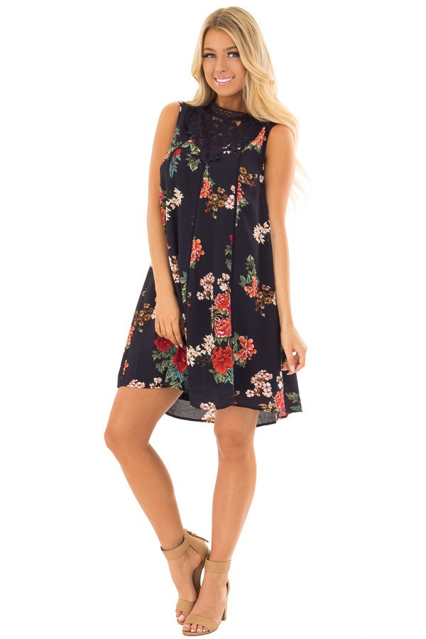 Navy Floral Print Dress with Sheer Lace Neckline front full body