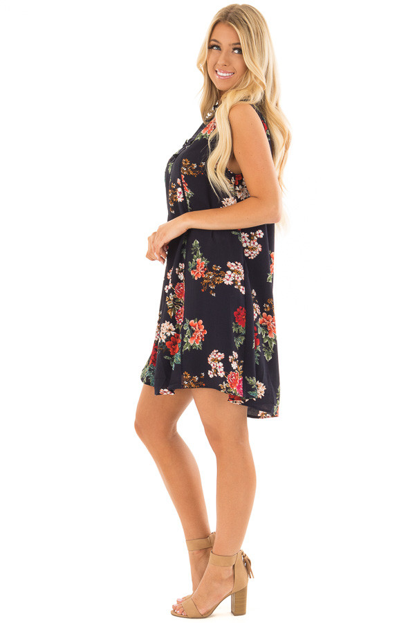 Navy Floral Print Dress with Sheer Lace Neckline side full body