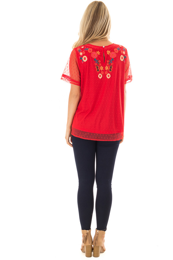 Cherry Red Sheer Top with Embroidery Detail back full body