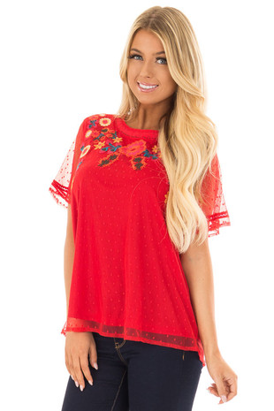 Cherry Red Sheer Top with Embroidery Detail front close up