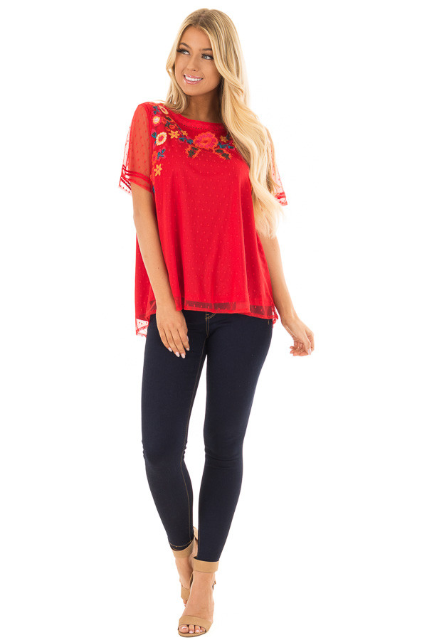 Cherry Red Sheer Top with Embroidery Detail front full body