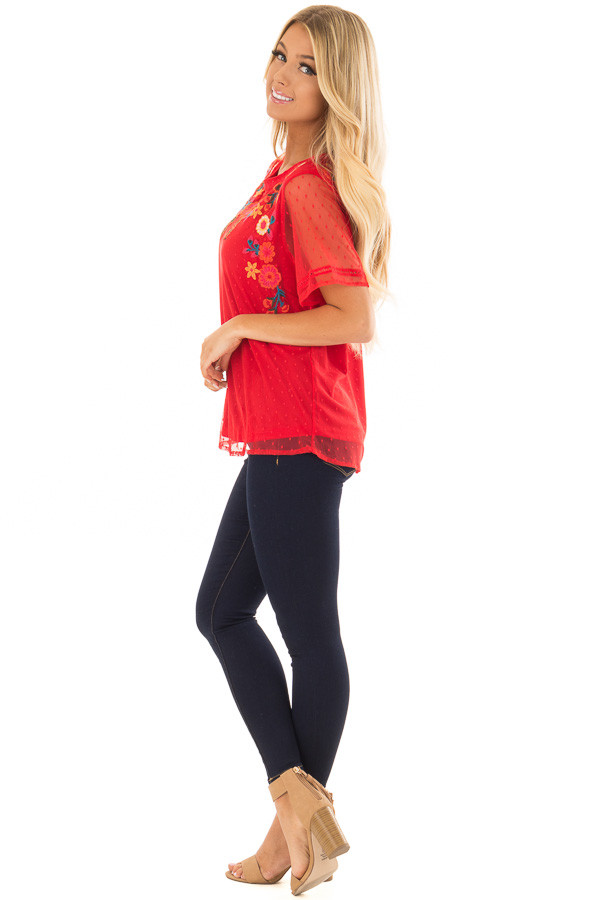 Cherry Red Sheer Top with Embroidery Detail side full body