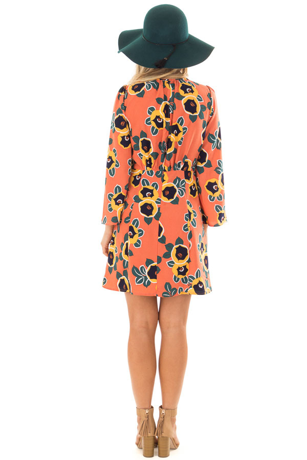 Peach Bell Sleeve Dress with Floral Print Detail back full body