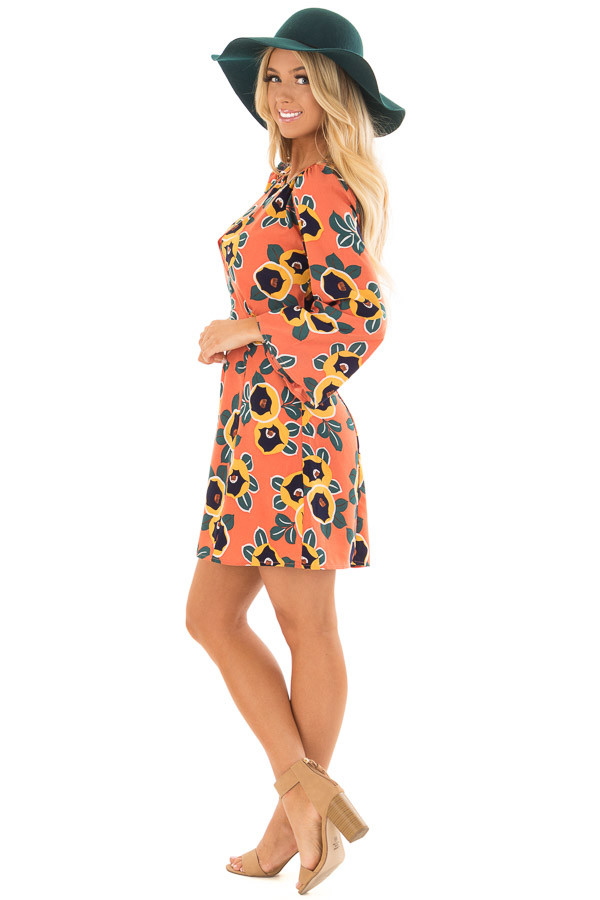 Peach Bell Sleeve Dress with Floral Print Detail side full body