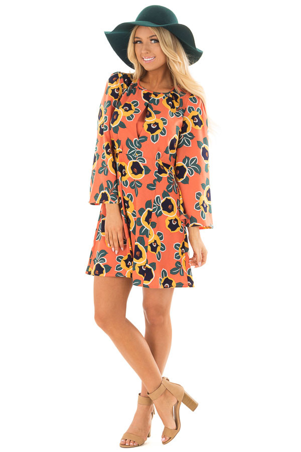 Peach Bell Sleeve Dress with Floral Print Detail front full body