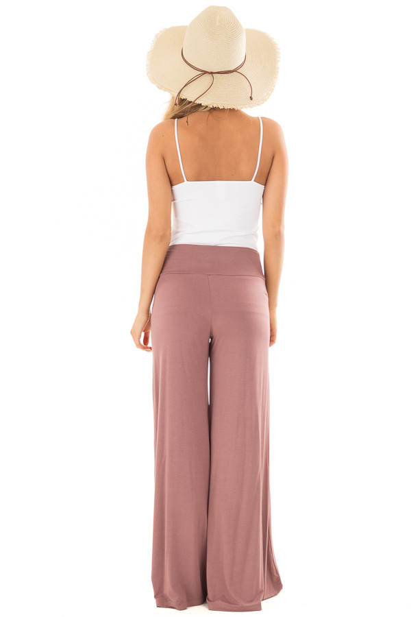 Mauve Comfy Pants with Flared Leg back full body