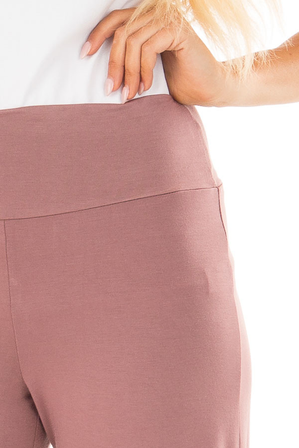 Mauve Comfy Pants with Flared Leg detail