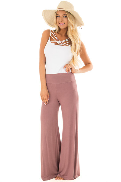 Mauve Comfy Pants with Flared Leg front full body