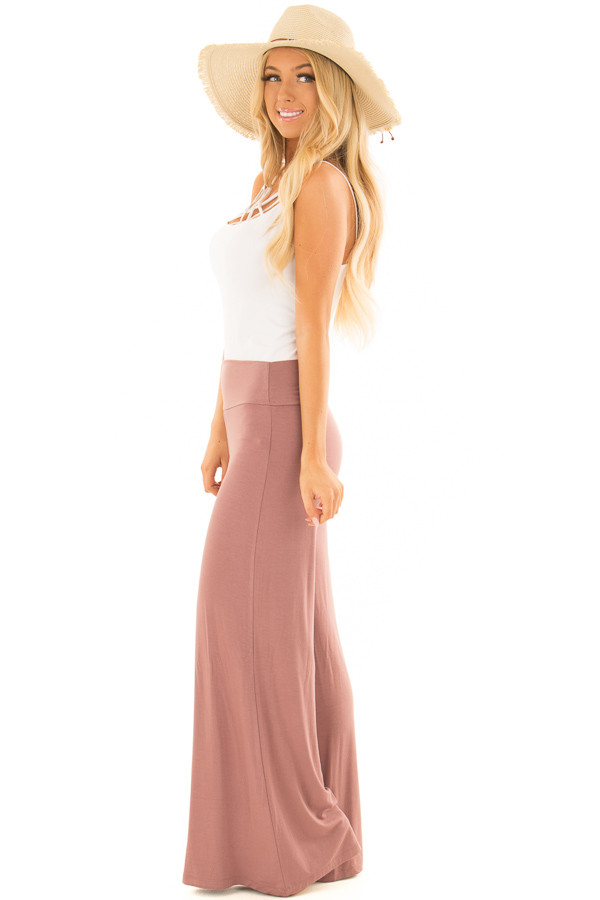 Mauve Comfy Pants with Flared Leg side full body