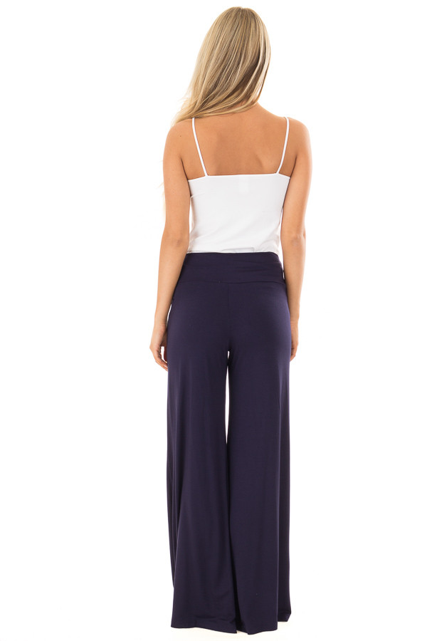 Navy Comfy Pants with Flared Leg back full body