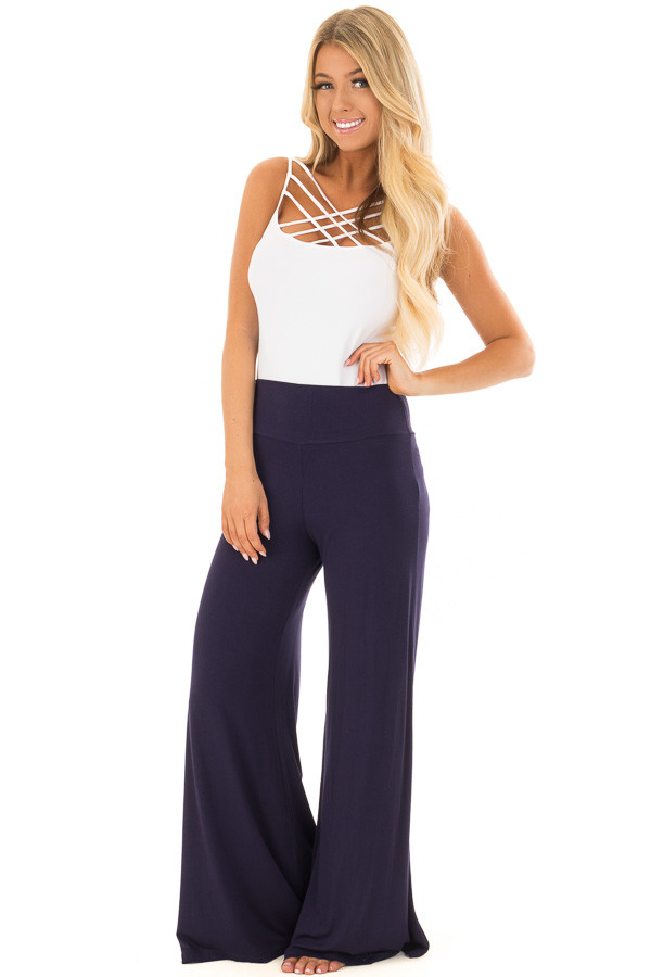 Navy Comfy Pants with Flared Leg front full body