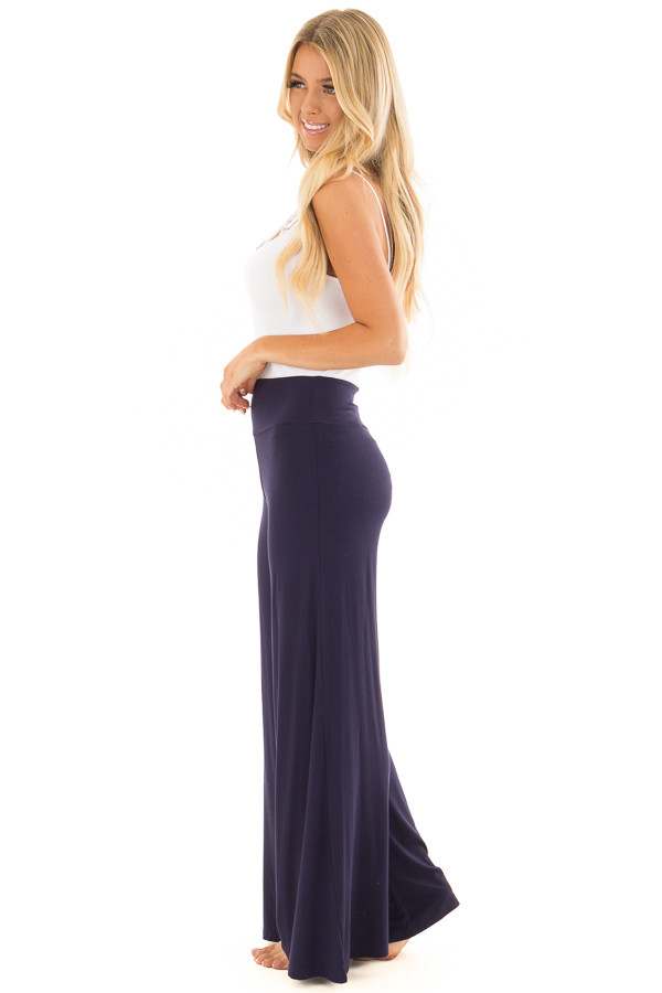 Navy Comfy Pants with Flared Leg side full body