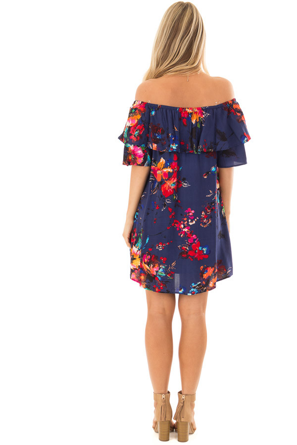 Navy Floral Off the Shoulder Dress with Pockets back full body