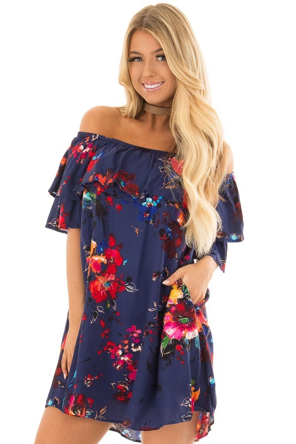 Navy Floral Off the Shoulder Dress with Pockets front close up