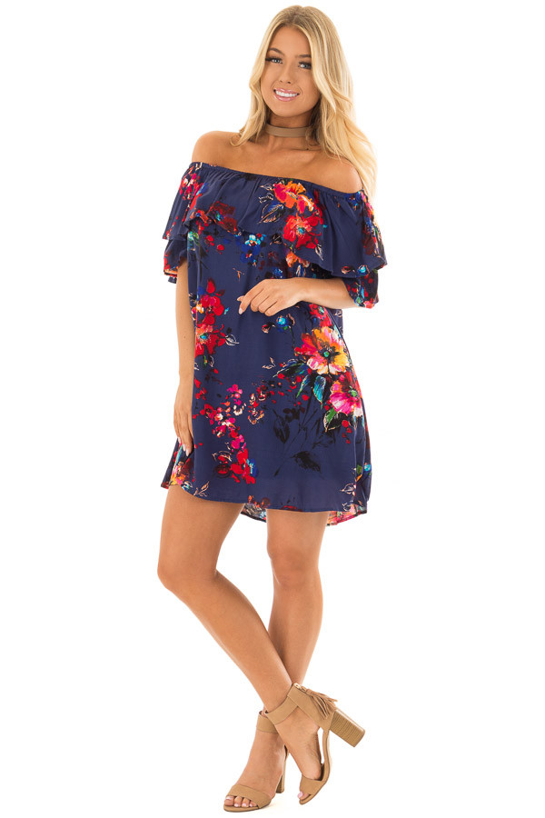 Navy Floral Off the Shoulder Dress with Pockets front full body