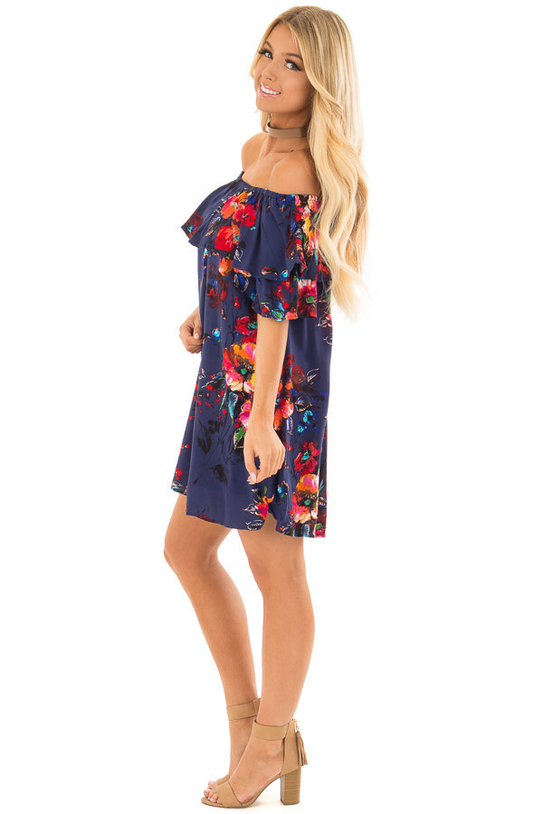 Navy Floral Off the Shoulder Dress with Pockets side full body