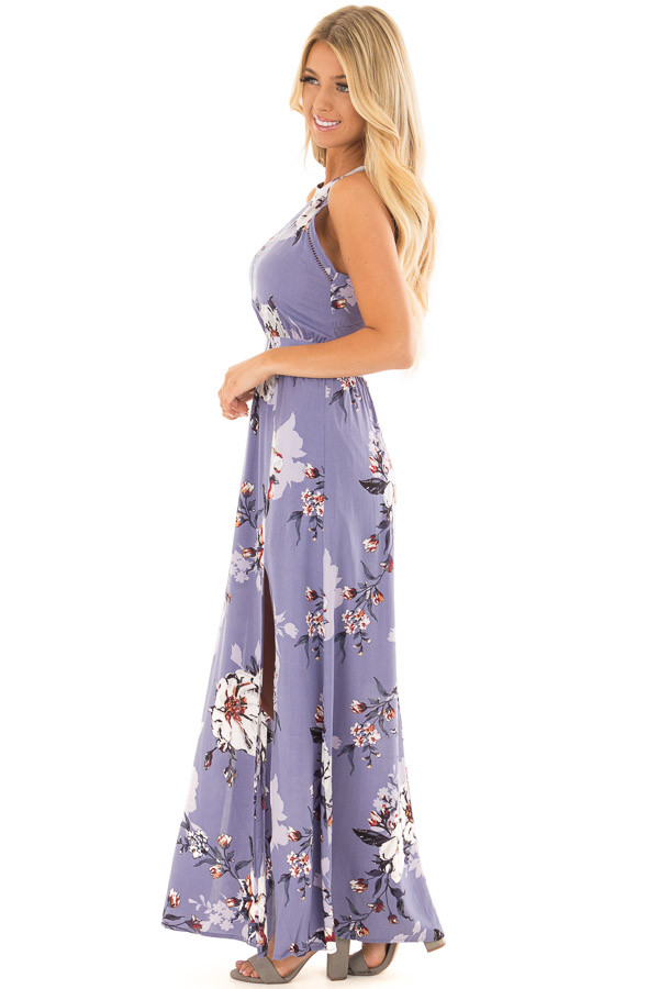 Lavender Floral Print Sleeveless Maxi Dress with Back Cutout side full body