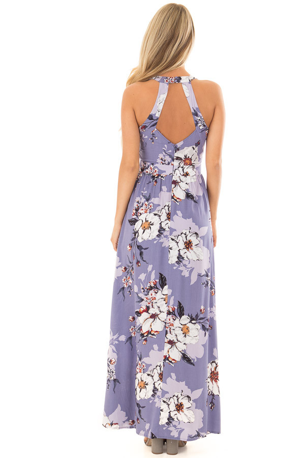 Lavender Floral Print Sleeveless Maxi Dress with Back Cutout back full body