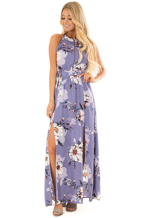 Lavender Floral Print Sleeveless Maxi Dress with Back Cutout front full body