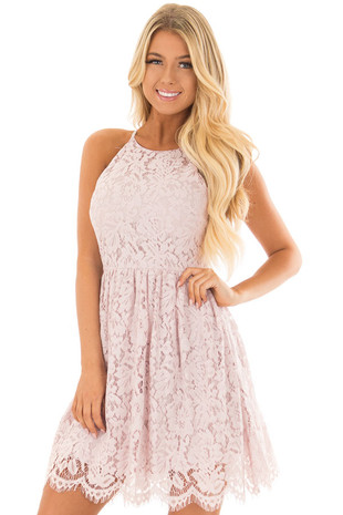 Blush Spaghetti Strap Lace Dress front closeup