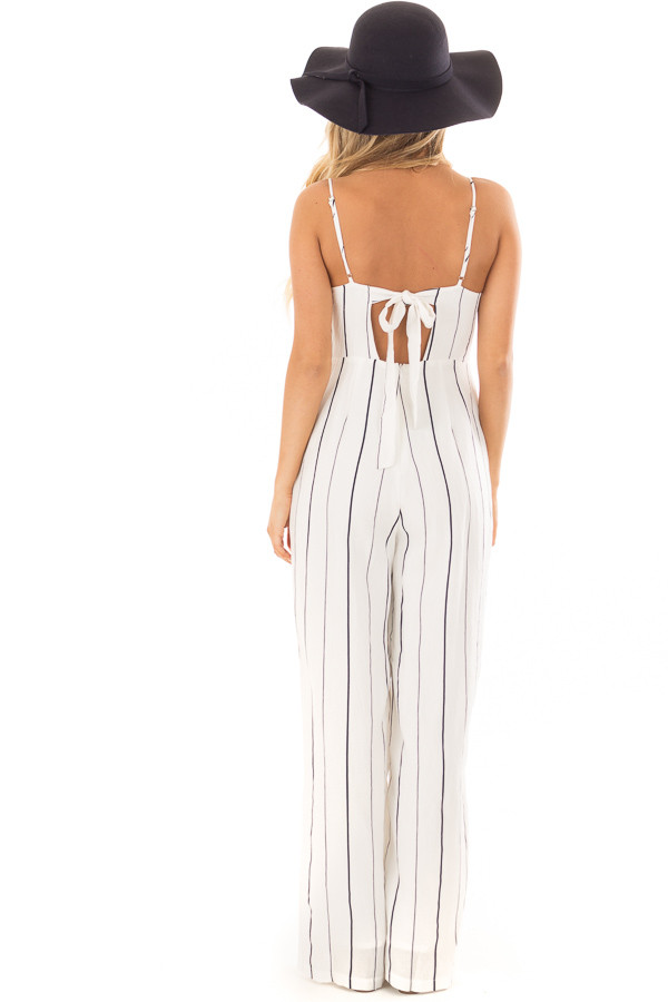 Off White and Navy Striped Sleeveless Jumpsuit back full body
