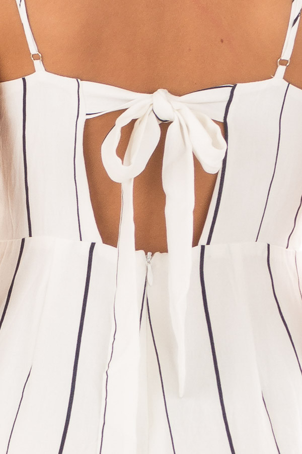 Off White and Navy Striped Sleeveless Jumpsuit back detail