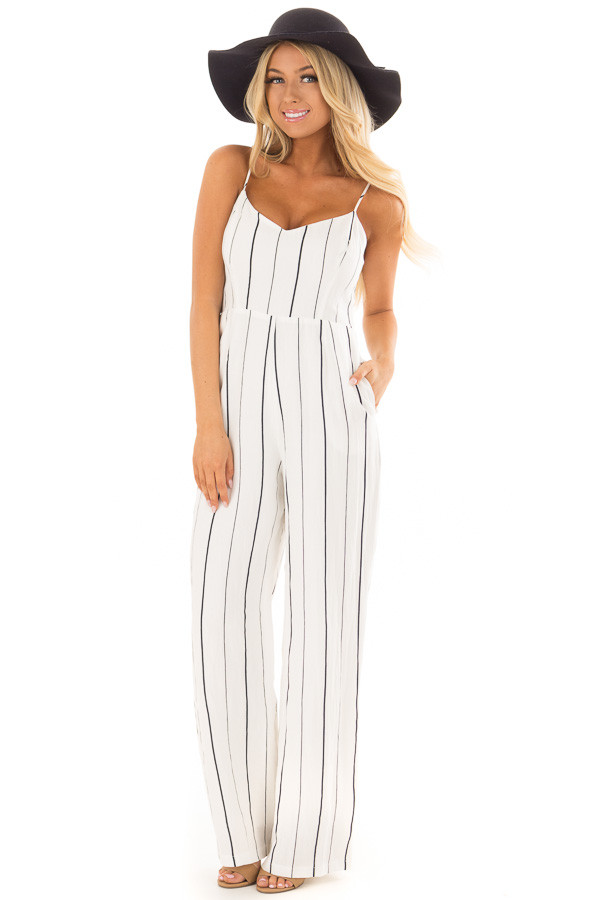 Off White and Navy Striped Sleeveless Jumpsuit front full body