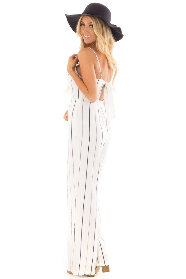 Off White and Navy Striped Sleeveless Jumpsuit side full body