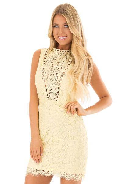 Light Yellow Sleeveless Lace Dress with Sheer Details front closeup