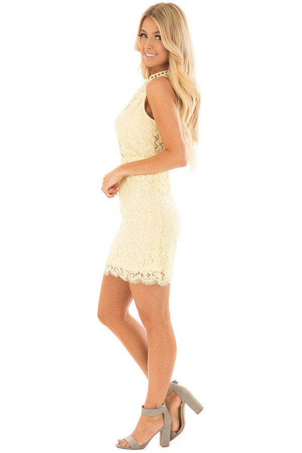 Light Yellow Sleeveless Lace Dress with Sheer Details side full body