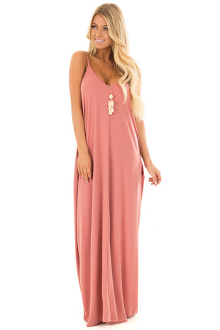 Ash Rose Sleeveless Cocoon Maxi Dress front full body