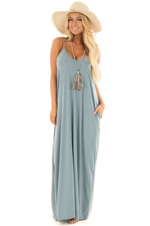 Dusty Blue Sleeveless Cocoon Maxi Dress front full body